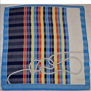 Accessories - Nautical Knot Striped Blue Red & Yellow Sq Scarf